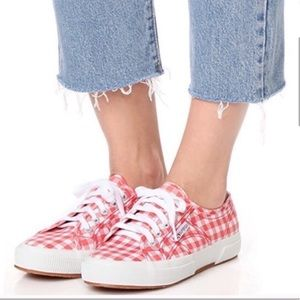 Superga RED gingham SNEAKERS white Anthropologie